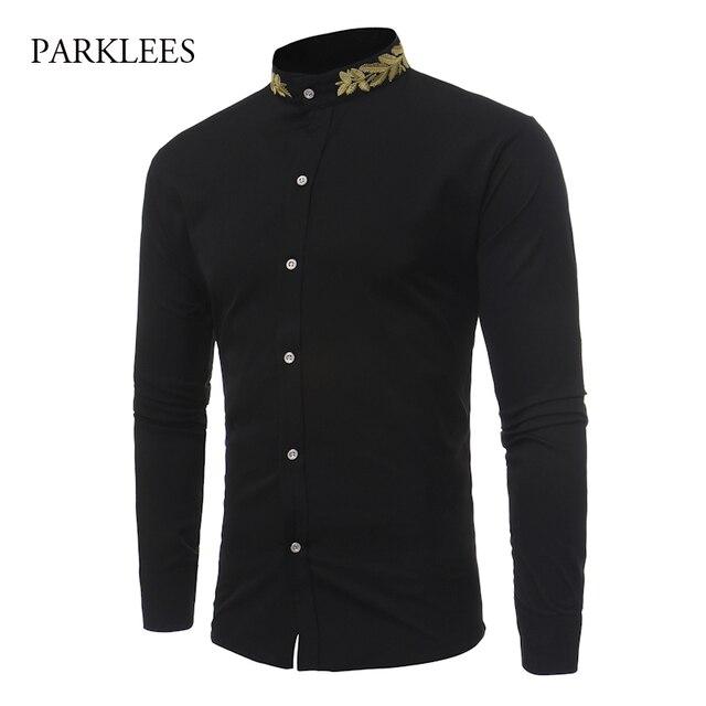 1880570c8b586 Camisa de marca Homens de Ouro Deixa Bordado Mens Vestido Camisas Gola Manga  Comprida Slim Fit