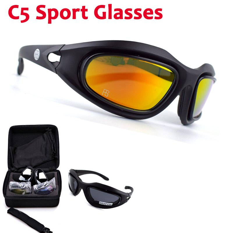 Polarized C5 Glasses Tacitcal Shooting Military Goggles Outdoor Camping Hiking Sunglasses Cycling Glasses 4 Lens Kit