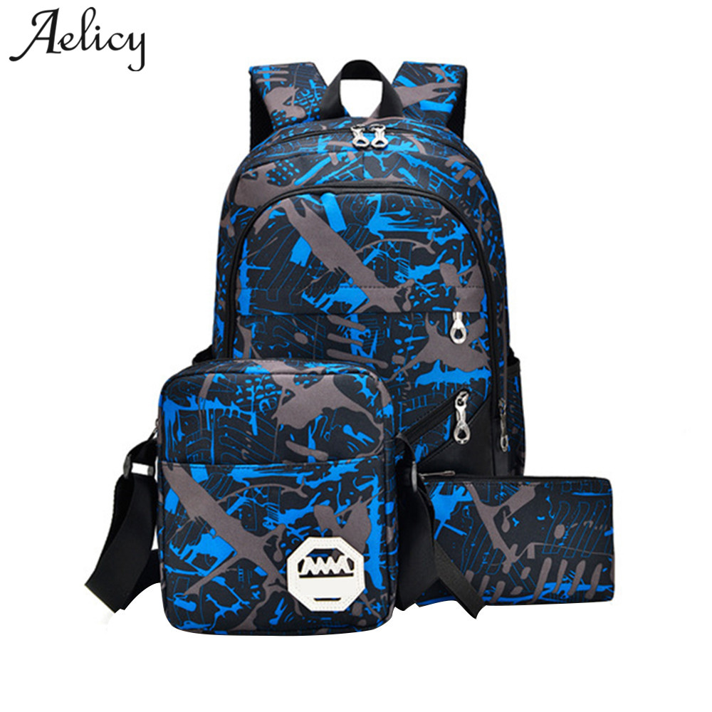 Aelicy 3pcs Waterproof Oxford Fabric Boys School Bags Backpack For Teenagers Pencil Case Blue Book Bag Boy Shoulder Schoolbag