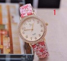 2015 New Sweet Floral Vintage Women Watch Fashion Leather Quartz Watch Cartoon Ladies Dress Watches Brass Clock Relojes Mujer