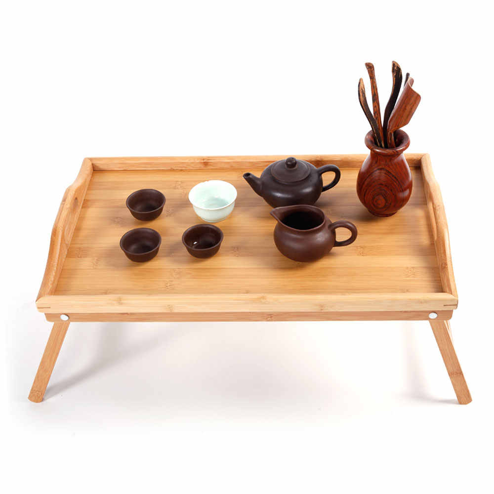 Simple Bamboo Tea Table Breakfast Coffe Table Laptop Desk Bed Table Serving Tray End Table for Bed Reading Wood Color - US Stock
