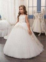 Keyhole חזור שנהב אופנה ילדה קטנה שמלת לחם הקודש עם שמפניה תחרת כדור שמלת שמלות ילדה פרח שושבינה הזוטר