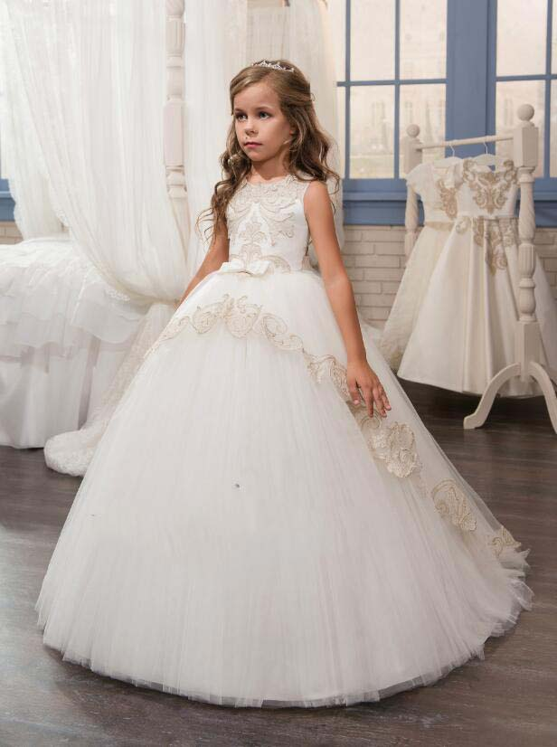 Fashion keyhole back ivory little girl holy communion dress with champagne lace ball gown junior bridesmaid flower girl dresses цены онлайн