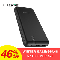 BlitzWolf BW P8 20000mAh 45W Power Bank QC3.0 PD3.0 Dual USB Type C Polymer Fast Charging Black For iPhone Android Mobile Phone