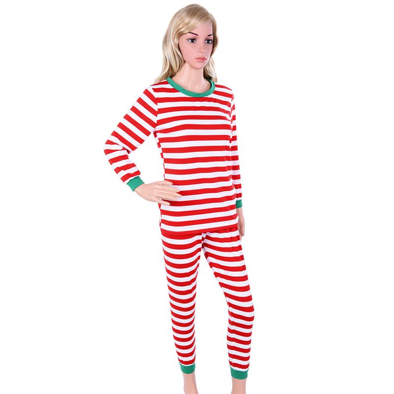 Women Sleepwear Set Christmas Pajama Set Stripe Long Sleeve Pajama Outfits with Rib Cuffs for Christmas