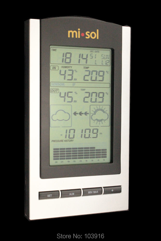 wireless Weather Station, wireless thermometer with Outdoor Temperature and humidity sensor LCD display, Barometer