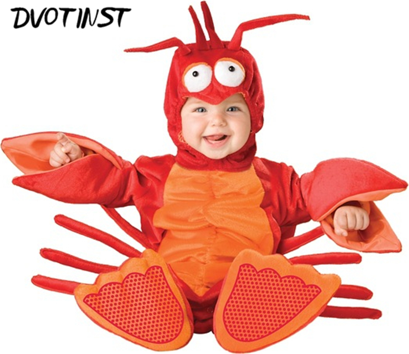 Dvotinst Baby Children Halloween Party Cosplay Animals Crabs Shrimp Outfit Costume Romper+Hat+Socks Infantil Toddler Clothing