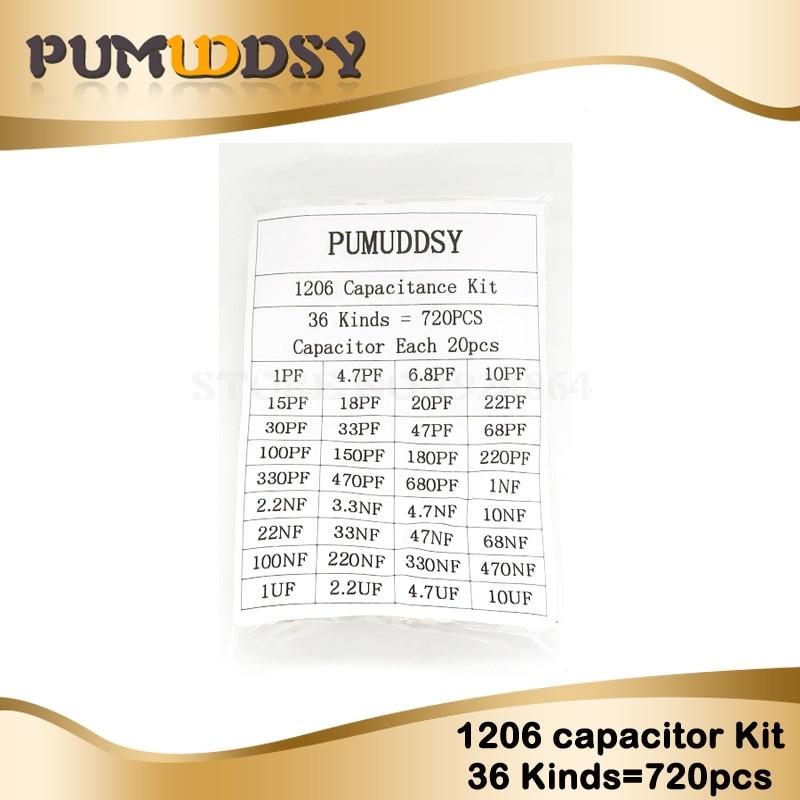 1206 SMD Capacitor Assorted Kit ,36values*20pcs=720pcs 1pF~10uF Samples Kit Electronic Diy Kit  Free Shipping