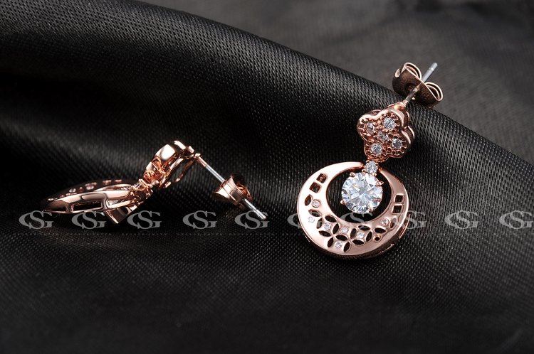 ROXI Brand Ladies Double Side Copper Coin Shape Flower Stud Earring Cocktail Party Jewelry Rose Gold Crystal Earrig For Women