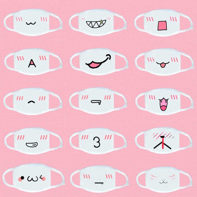1pc white Kawaii Anti Dust mask Kpop Cotton Mouth Mask Cute Anime Cartoon Mouth Muffle Face Mask Emoticon Masque party Supply