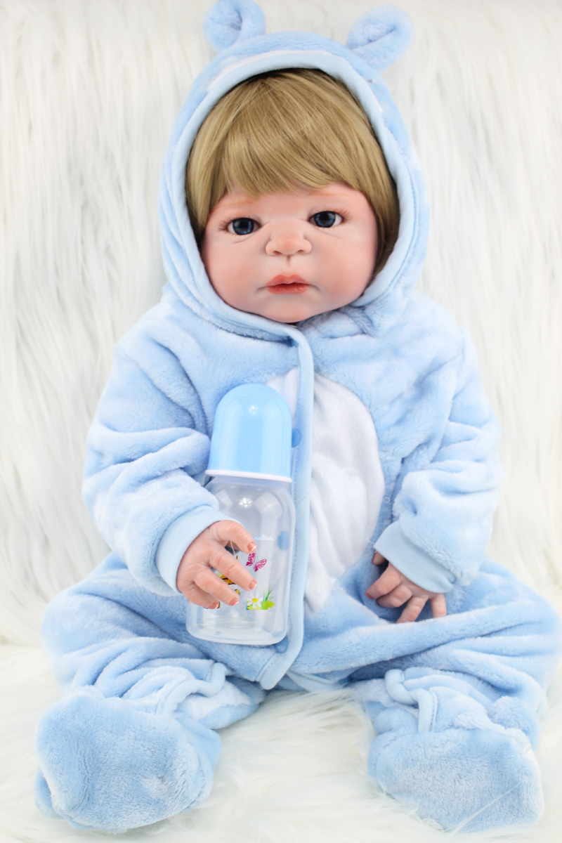 Real Like 55cm Full Body Silicone Reborn Baby Boy 22 Vinyl Newborn Dolls Cute Birthday Gift Waterproof Bathe Toy Blonde Hair wholesale 160g set 60 platinum blonde 7a real hair brazilian clips in extensions real straight full head high quality