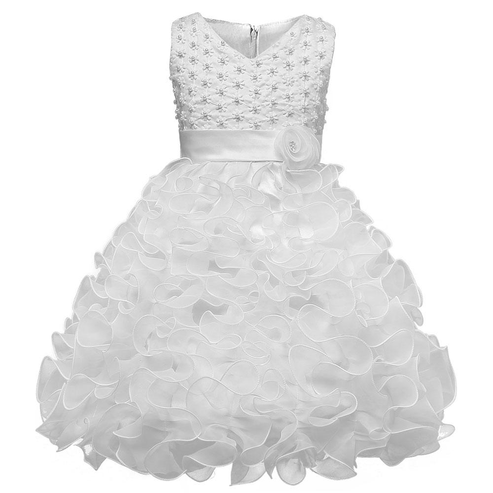 White Christening Princess Girl New Tutu Dresses Children Clothing Birthday Party 6 7 8 Puffy Wedding Kids Dress Girls Clothes