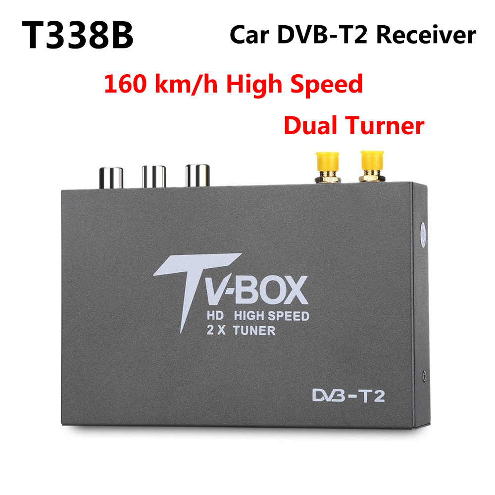 160km/h High Speed T338B H.264 HD DVB-T2 Car Digital TV Tuner DVB-T MPEG-4 Mobile TV Box Receiver with Dual Amplifier Antenna idoing high speed hd car tv tuner mobile dvb t t2 mpeg 4 digital tv receiver box dual antennas for russia european
