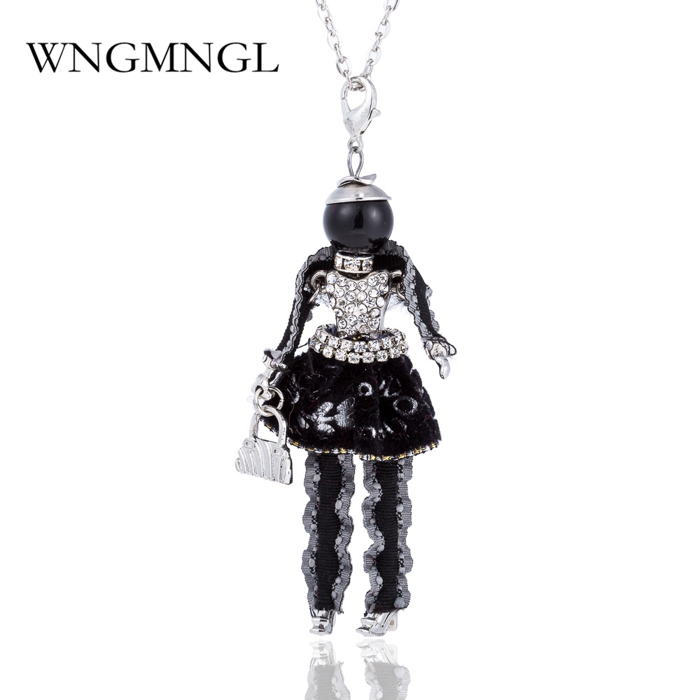 WNGMNGL 2018 New Fashion Women Doll Cute Black Long Statement Necklaces & Pendant Hot Dress Baby Girls Maxi Necklace Jewelry
