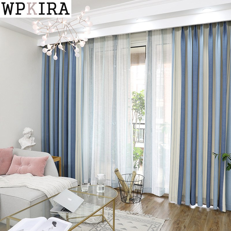 Blackout Stripe Curtains for Living Room Hotel European ...