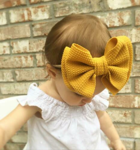 Toddler Kids Baby Girls Big Bow Hairband Knot Elastic Headband Hair Accessories Black Blue White Red Yellow защитный детский шлем