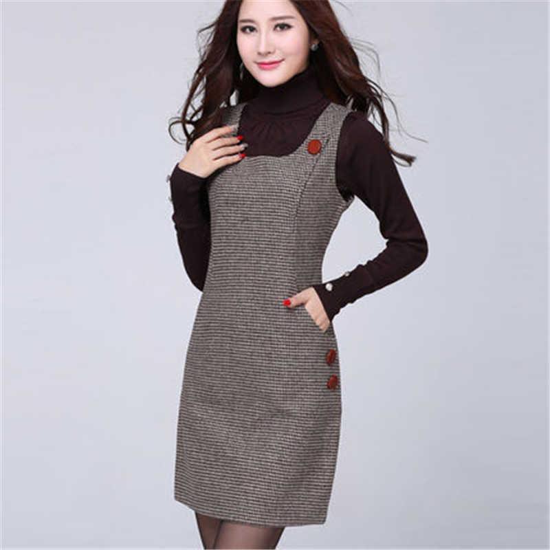 2017秋と冬の女性のドレスMS格子大サイズs-4xlベストレンダリングドレスMSファッションパックヒップ毛深いベストドレスf187