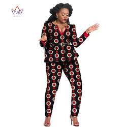 Dashiki For Women African bazin riche dresses Summer Top And Pants Set v-Neck Suit Traditional cotton Clothing Print none WY797