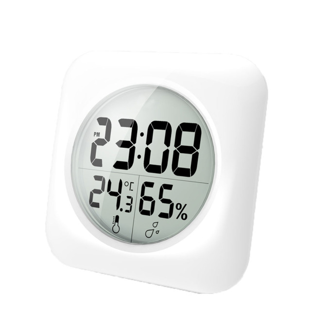 Baldr Waterproof Shower Clock Large Lcd Display Wall Suction Cups Kitchen Temperature Humidity Sensor Digital Bathroom