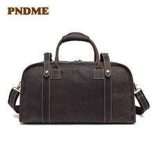 Hand luggage crazy horse leather large capacity duffel bag retro men's luggage