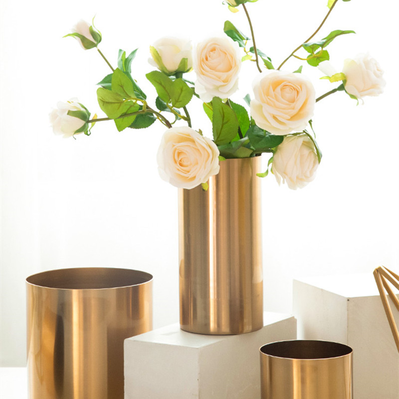 gold vase living room flower arrangement metal plating flower (6)