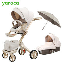 Luxury Baby Stroller High Landscope Portable Baby Carriages Folding Prams For Newborns Travel System 2 in