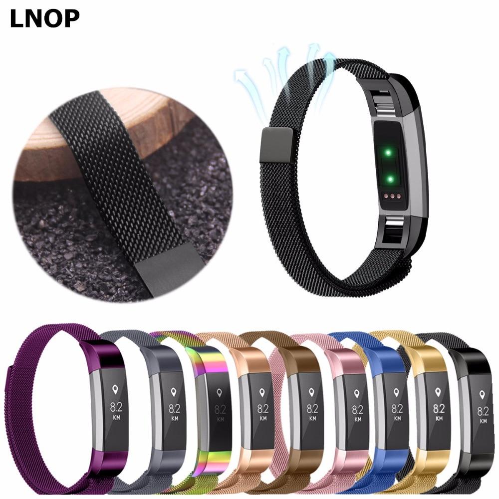 LNOP Milanese Loop voor Fitbit Alta/fitbit Alta HR vervanging band Magnetische polsband Rvs metalen smart tracker Band