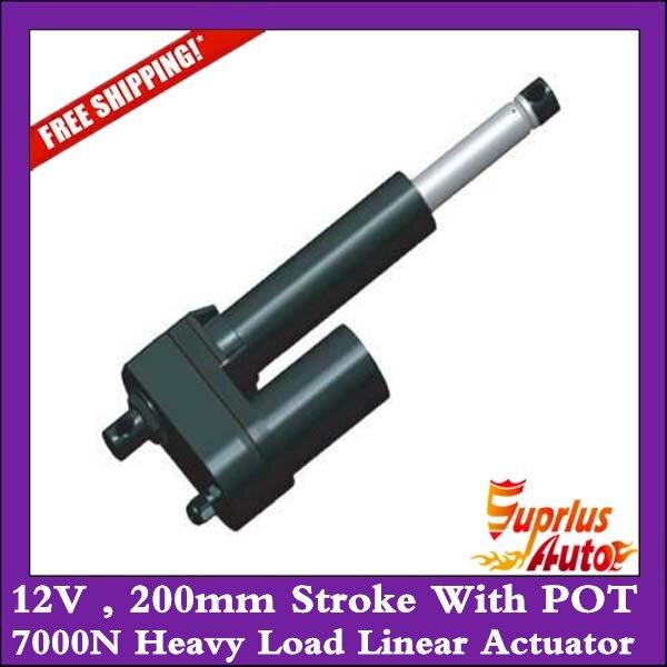 Livraison gratuite actionneur linéaire à charge lourde de 12 volts 200mm avec POT, actionneur linéaire à charge forte de 7000N en espagne