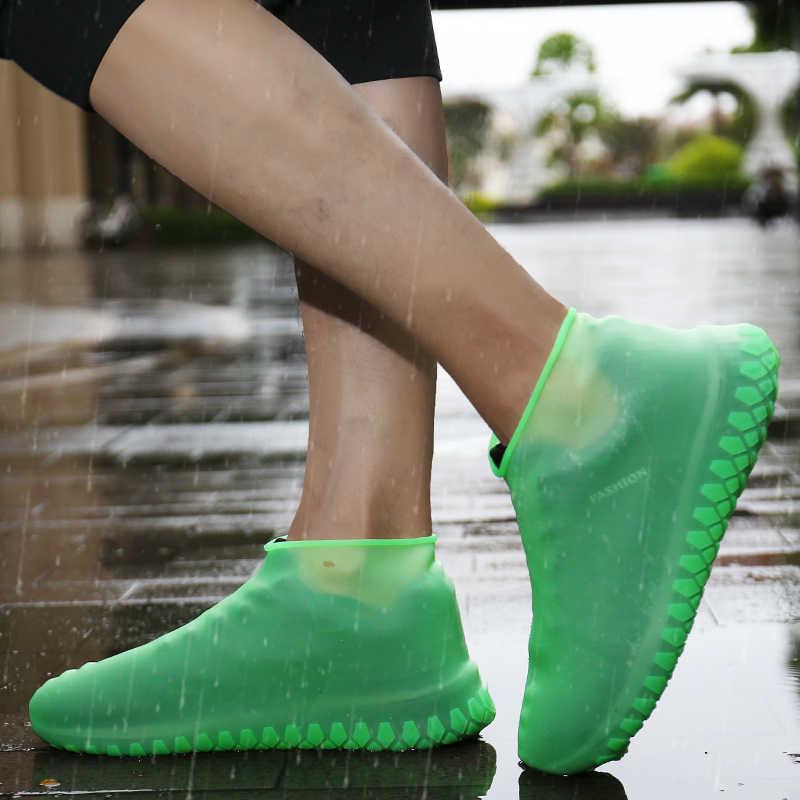 Engrossar capa de sapato gel de silicone à prova dwaterproof água sapatos de chuva cobre borracha reutilizável elasticidade overshoes antiderrapante para botas prot