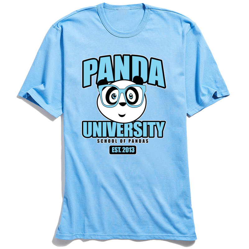 Panda University T-shirt Blue Cotton T Shirts for Men Short Sleeve Funny Tops Tees Slim Fit VALENTINE DAY O-Neck Tshirt Printed