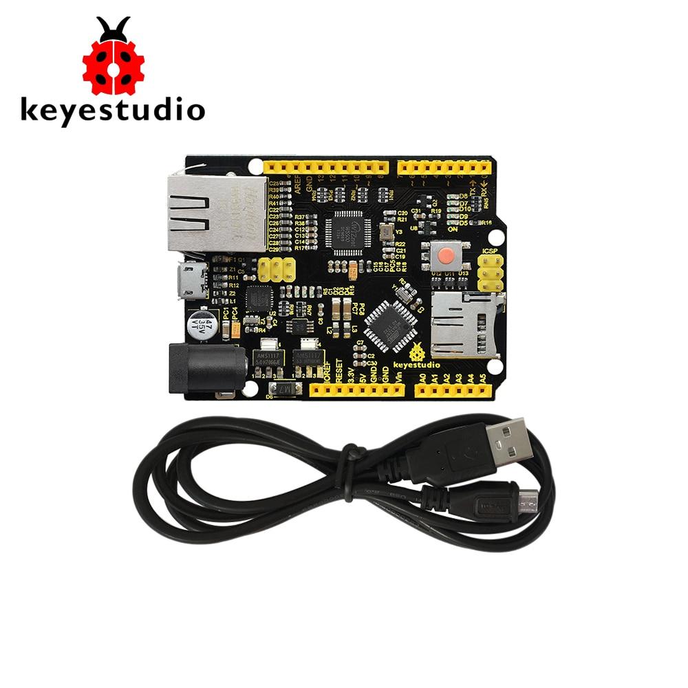 Keyestudio W5500 ETHERNET DEVELOPMENT BOARD For Arduino DIY Project (WITHOUT POE) CE/ FCC w5500 development board the ethernet module ethernet development board