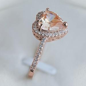 Image 3 - Huitan clássico solitaire anel com forma de coração zircônia cúbica prong ajuste casamento anéis de noivado para meninas feminino tamanho 6 10