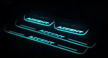 eOsuns led door scuff light colors changably with wireless switch and voice control,plate door sill for hyundai accent