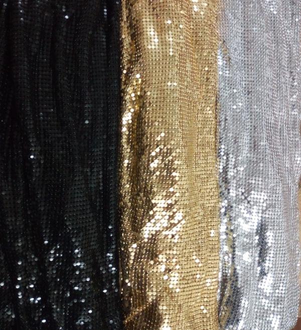 Buy Free Shipping 150cm X 45cm Golden Silver Black Metal Mesh Fabric Metallic