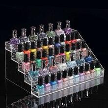 El envío libre de Acrílico transparente de 5 capas exhibition nail salon de uñas estante de exhibición del estante de la joyería cosmética caja De Joyería