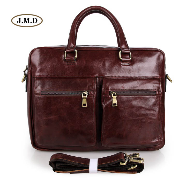 J.M.D Genuine Cow Leather Briefcase Handbag Business Men Messenger Bag Fashion Shoulder Bag Fit for 15 Laptop Bag 7270C