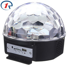 ZjRight Music Crystal Magic Ball RGB 6W*3 LED Stage Light Disco Nightclub Party Strobe Lights DJ Lighting with Remote