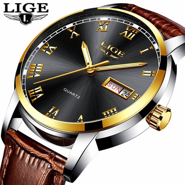 6e5c66e333d LIGE Ocasional de Couro Dos Homens Relógio de Quartzo Homens Marca De Luxo  Auto Data Militar