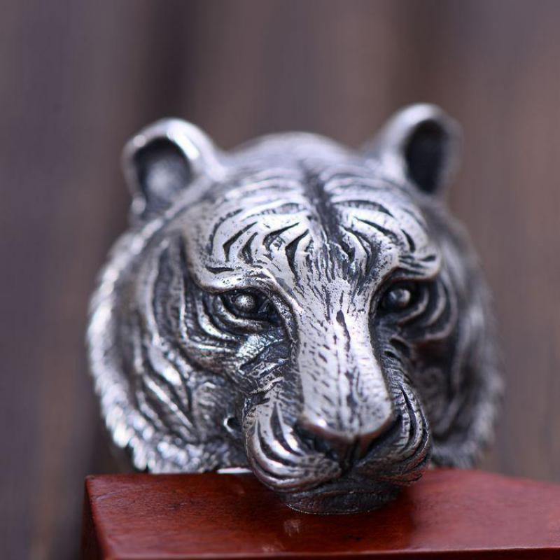 Real Solid 925 Sterling Silver Tiger Ring For Men Twelve Zodiac Retro Vintage Cool Big Mens Biker Ring Animal Fine Jewelry