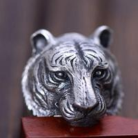 Real Solid 925 Sterling Silver Tiger Ring For Men Twelve Zodiac Retro Vintage Cool Big Mens Biker Ring Animal Fine Jewelry