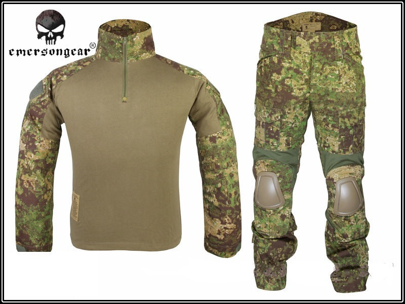 Emerson Tactical Camouflage Military Uniform Clothes Suit Men Army Hunting Combat Jersey Shirt + Pants Knee Pads Hiking Garment outdoor hunting clothes us army tactical uniform men camouflage suit military combat uniform set shirt pants acu camo clothing