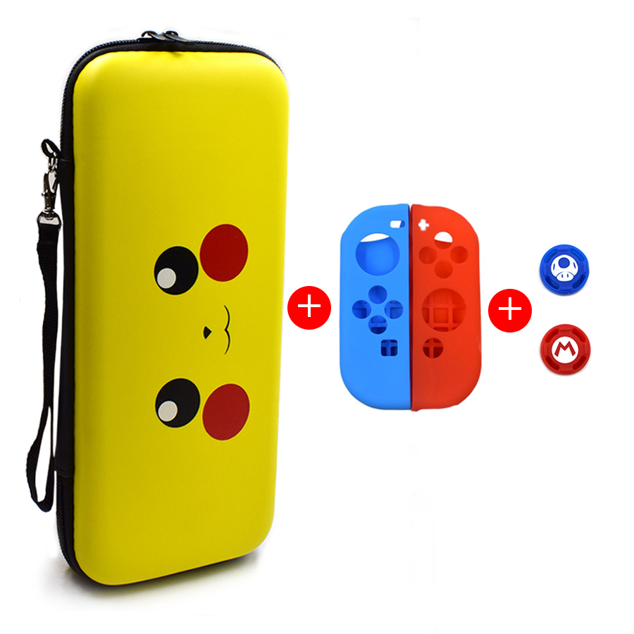 5 in 1 Nintend Switch NS Accessories Kit Protective Cover Carrying Case Bag with Slicone Case Analog Caps for Nintendo Switch