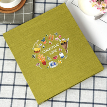 Self-adhesive DIY photo album 12 inch flax cover black sheets thermal transfer printing personal style baby couples