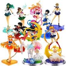 13-22cm Sailor Moon Tsukino Marte mercurio Mizuno Kino Rei Hino Júpiter Saturno princesa Chibi figura de PVC en miniatura muñeca de juguete