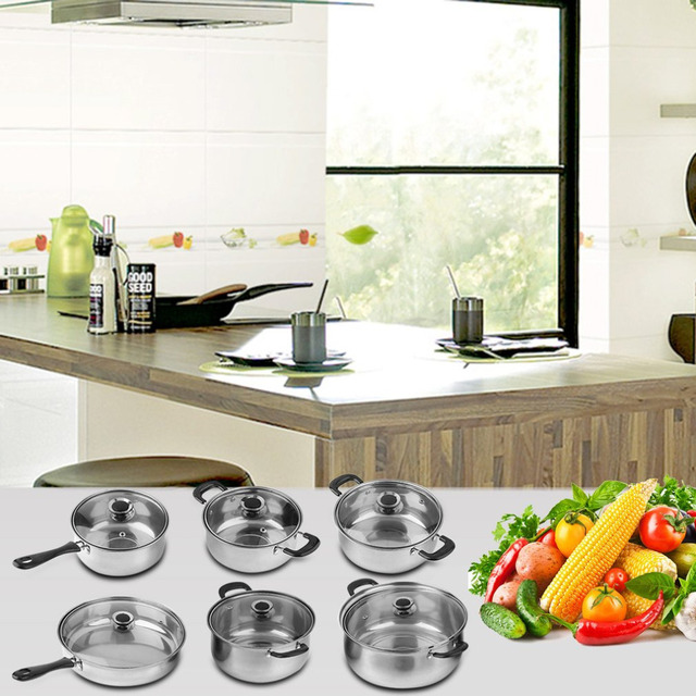 12 Piece Heat Break Resistant Stainless Steel Pot Cooker Set Cook Cookware Pan Easy Cleaning
