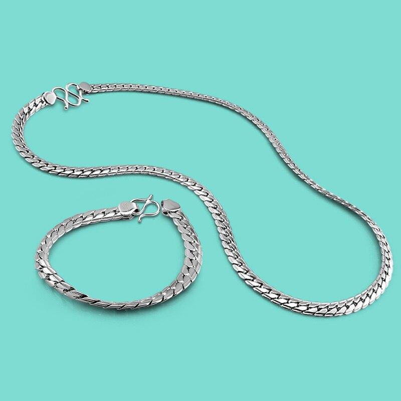 Nouveau hommes en argent Sterling ensemble mode fouet chaîne Design solide argent colliers/Bracelets hommes de mode bijoux cadeau d'anniversaire
