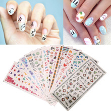 12Sheets/Lot Cute Cartoon Animal Flower Nail Art Stickers 3D DIY Nail Tips Manicure Decal Fingernail Decorations Stickers
