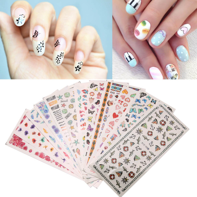 12Sheets/Lot Cute Cartoon Animal Flower Nail Art Stickers 3D DIY ...
