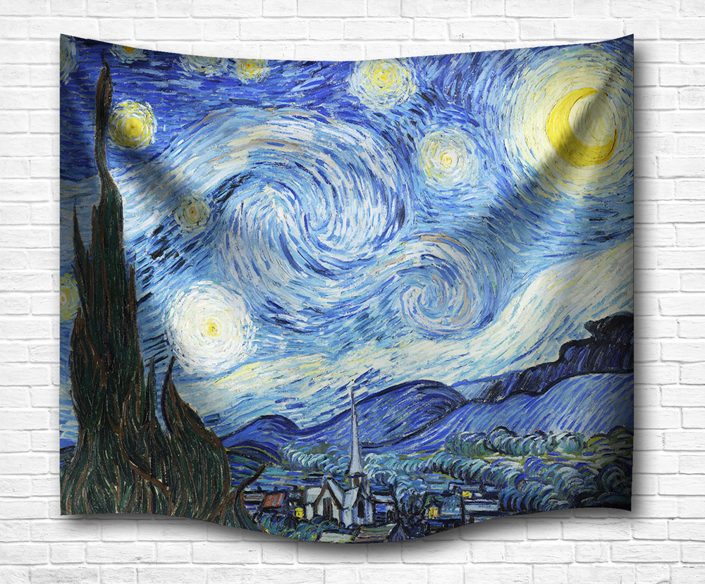 Tapestry Wall Art Starry sky Decorate Large Bedspread Tapestry Tapestry Natural home decor Hanging Tapestry Orange Maple Leaves