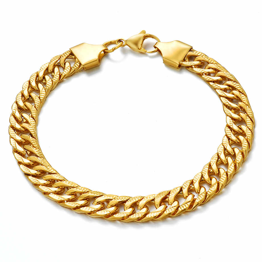 6/9mm Men's Bracelets Gold Stainless Steel Curb Cuban Link Chain Bracelets For Men Women Wholesale Jewelry Gift N1332